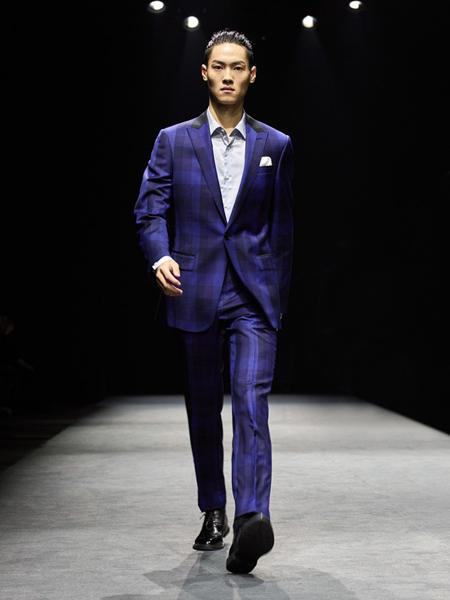 裁圣男装品牌2020秋季紫色格子西装套装