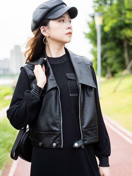 薇薇希女装品牌2020秋冬皮质马甲套装