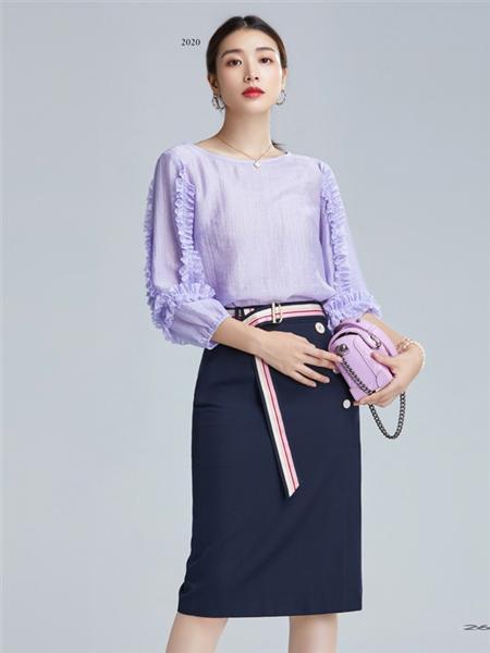 欧炫尔女装品牌彩38平台2020秋冬紫色长袖上衣
