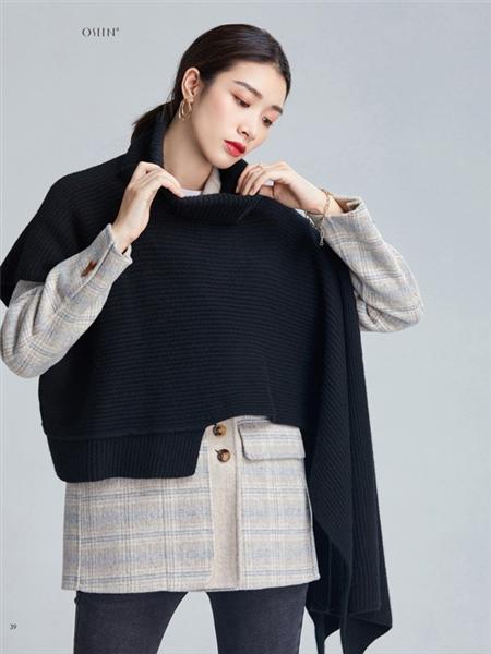 欧炫尔女装品牌2020秋冬黑色休闲上衣
