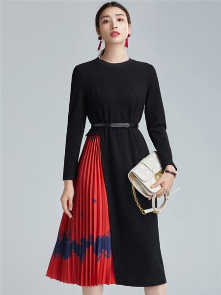 欧炫尔女装品牌2020秋冬红黑时尚长款连衣裙