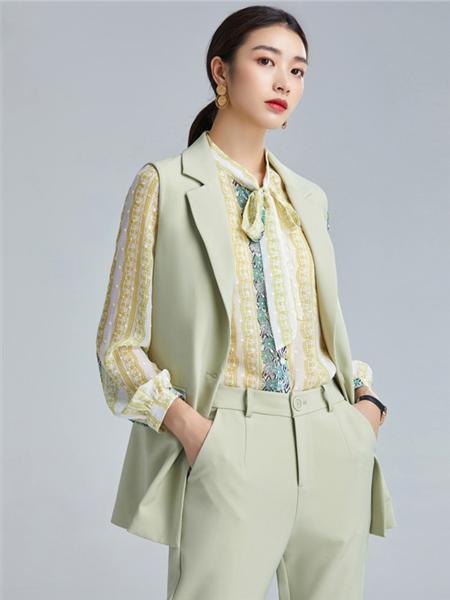 欧炫尔女装品牌2020秋冬绿色长袖上衣