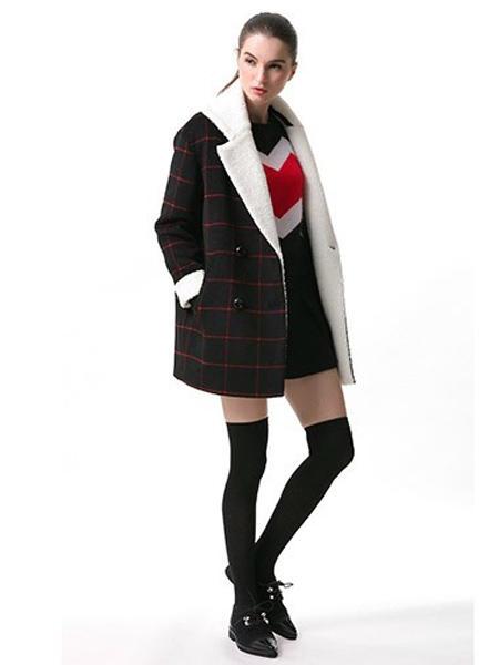 JECCI FIVE杰西伍女装品牌2020秋冬格子短款外套