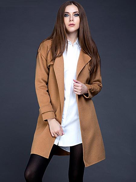 JECCI FIVE杰西伍女装品牌2020秋冬纯色中长款外套