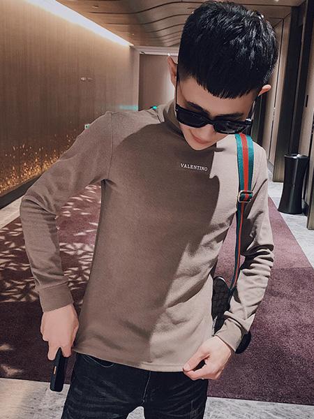 乔治邦尼男装品牌2020秋季棕色字母上衣