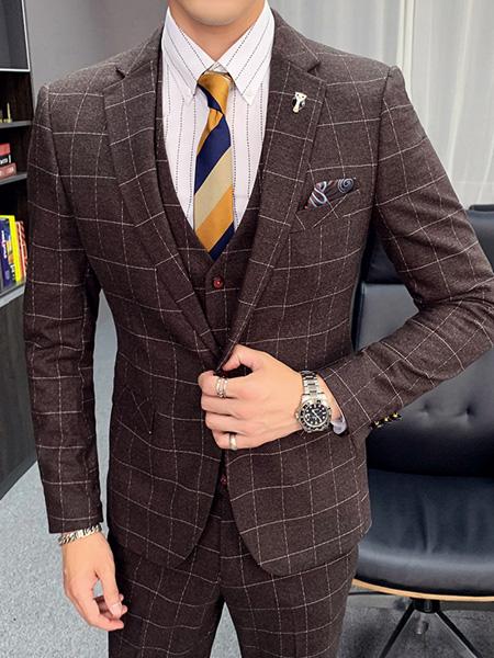 乔治邦尼男装品牌2020秋季棕色格子西装