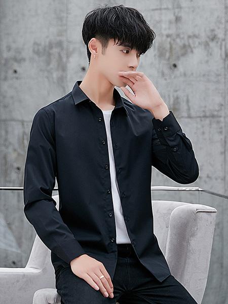 乔治邦尼男装品牌2020秋季黑色长袖衬衫