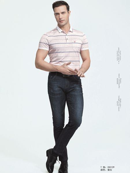 霸道公子男装品牌2020春夏粉色条纹T恤
