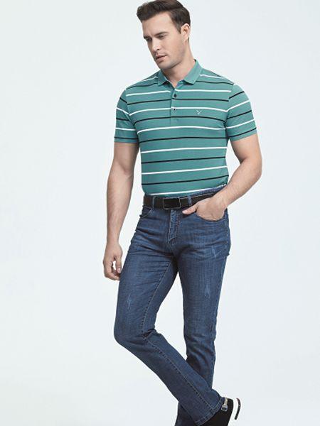 霸道公子男装品牌2020春夏绿色条纹T恤