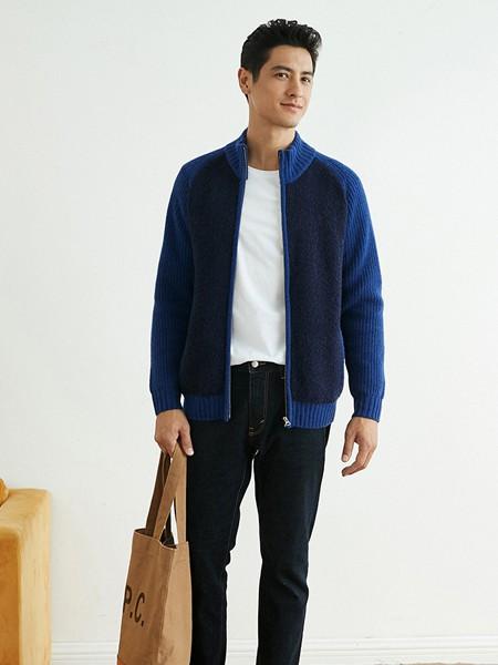 棉先生男装品牌2020秋冬蓝色休闲外套
