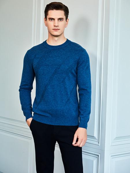 爱迪丹顿男装品牌2020秋冬纯色长袖T恤