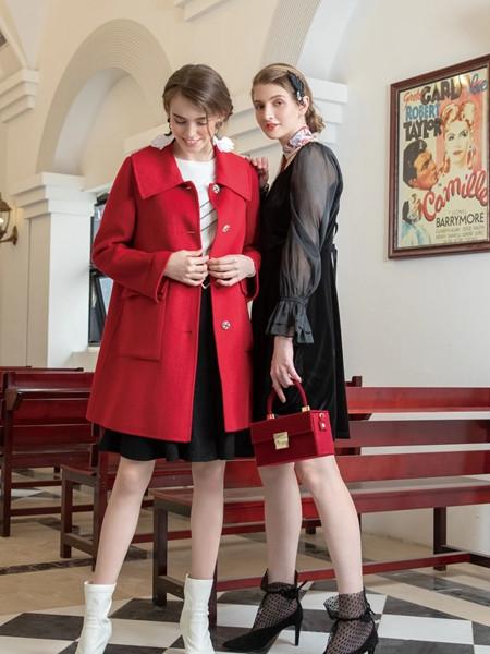 十八淑女坊女装品牌2020秋季休闲红色外套