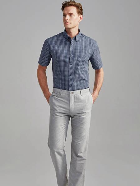 富绅男装品牌2020秋季纯色条纹衬衫