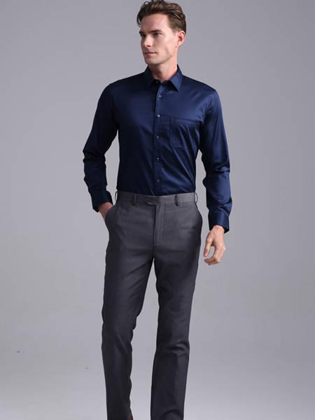 富绅男装品牌2020秋季街头纯色长袖衬衫