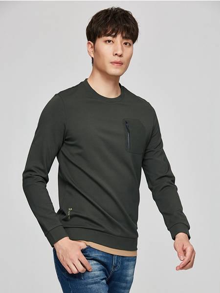 才子男装品牌2020秋季纯色长袖T恤