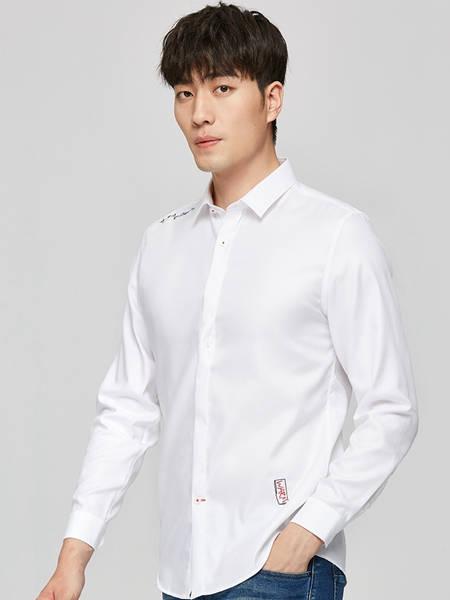 才子男装品牌2020秋季极简白色开衫