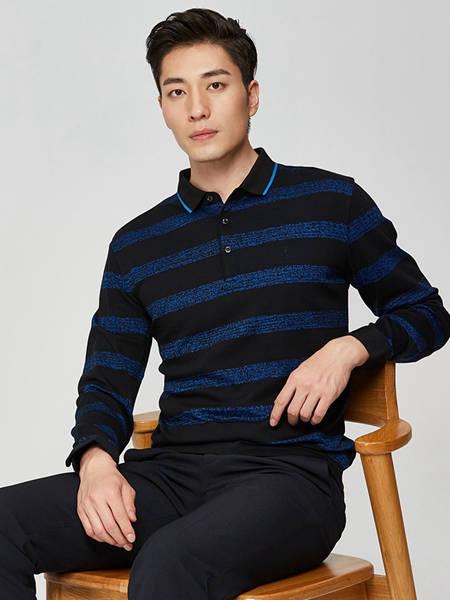 才子男装品牌2020秋季潮流条纹衬衫