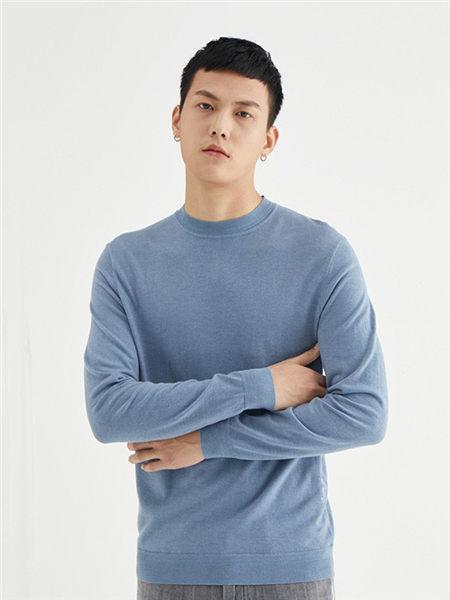 肆厘米男装品牌2020秋冬蓝色长袖T恤
