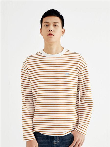 肆厘米男装品牌2020秋冬红色条纹T恤