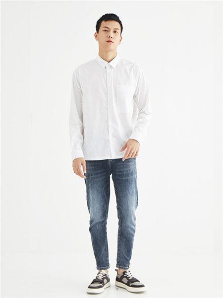 肆厘米男装品牌2020秋冬潮流白色衬衫