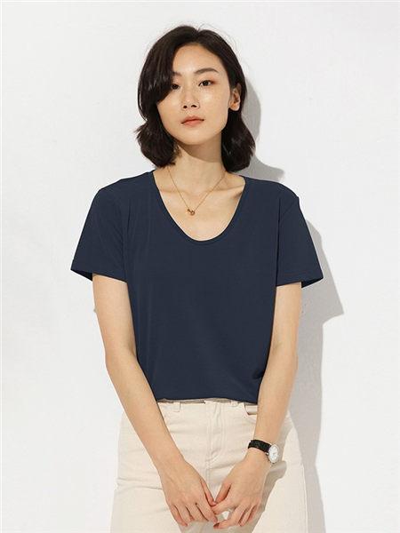 微丝里女装品牌2020春夏黑色舒适T恤