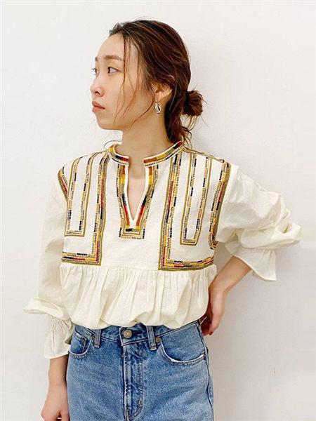 UNGRID女装女装品牌2020秋季白色条纹上衣