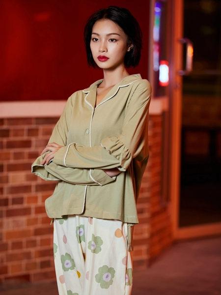 蘭繆(LAMIU)內衣品牌2020秋季青色休閑睡衣