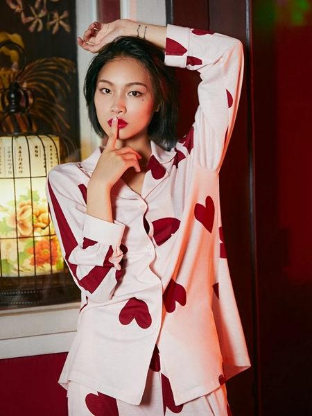 兰缪(LAMIU)内衣品牌2020秋季白色爱心家居服