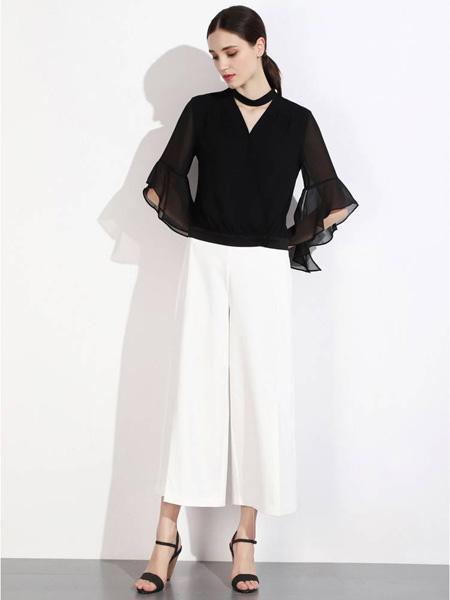 曈日女装品牌2020秋冬快时尚黑色T恤