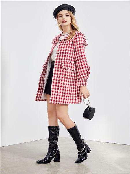 城市衣柜女装品牌2020秋冬红色格子外套