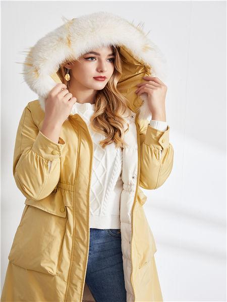 城市衣柜女装品牌2020秋冬黄色保暖棉衣