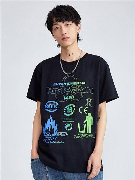 抹茶故事男装品牌2020春夏个性图标黑色上衣