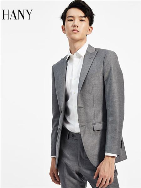 汉尼男装品牌2020秋冬灰色西服套装