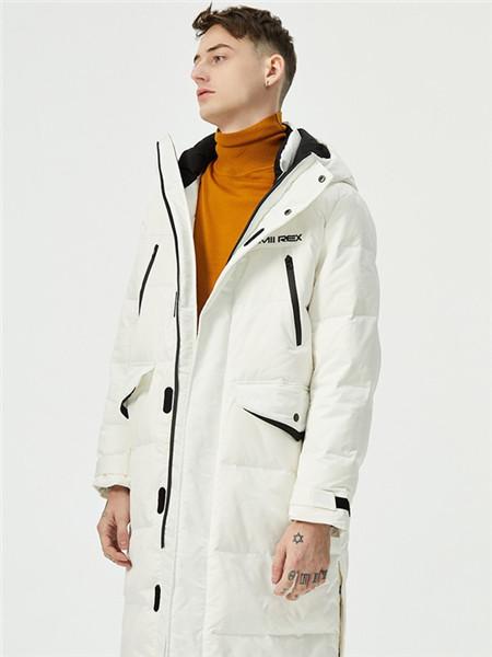 汉尼男装品牌2020秋冬白色字母长款外套
