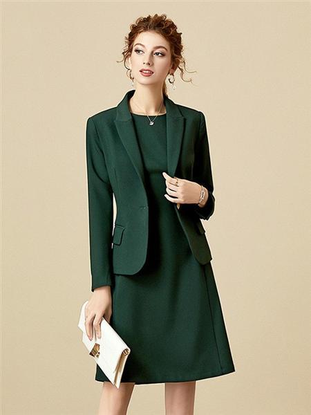 海青蓝女装品牌2020秋季绿色西服套装