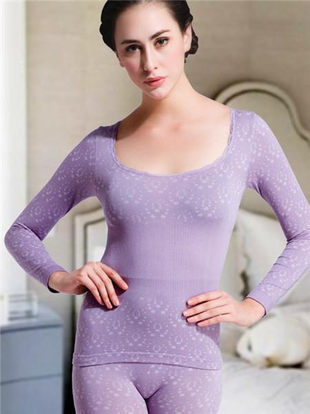 Docare朵彩內衣品牌2020秋季紫色保暖內衣套裝
