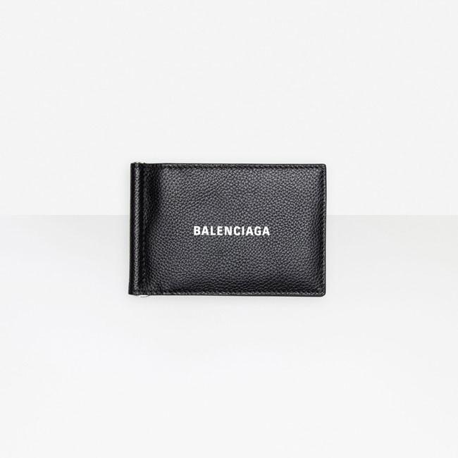 Balenciaga 巴黎世家 Cash Bill Clip 黑色粒面皮革方形钱包