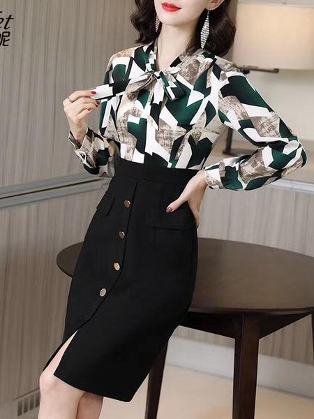 Scarlet斯珈妮女装品牌2020秋冬潮流碎花套装