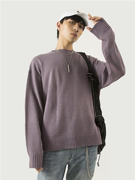 翡翠男装品牌2020秋冬紫色针织衫