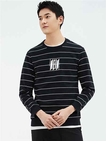 翡翠男装品牌2020秋冬黑白条纹上衣