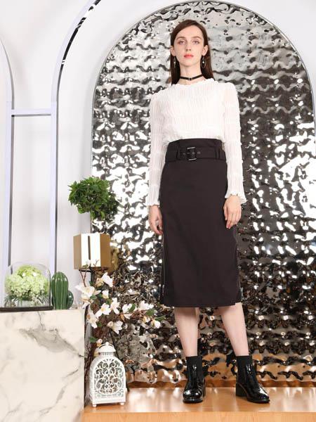 SASLAX莎斯莱思女装品牌2020秋季黑色极简半身裙