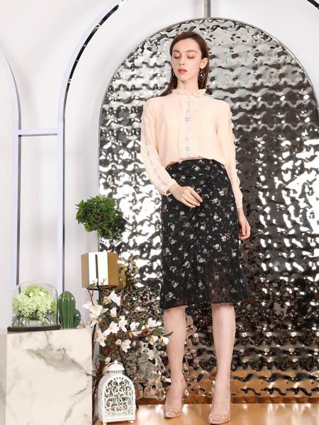 SASLAX莎斯莱思女装品牌2020秋季碎花黑色半身裙