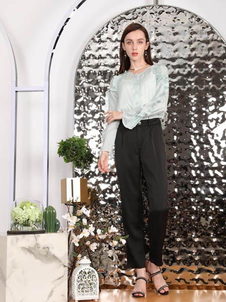 SASLAX莎斯莱思女装品牌2020秋季青色潮流衬衫