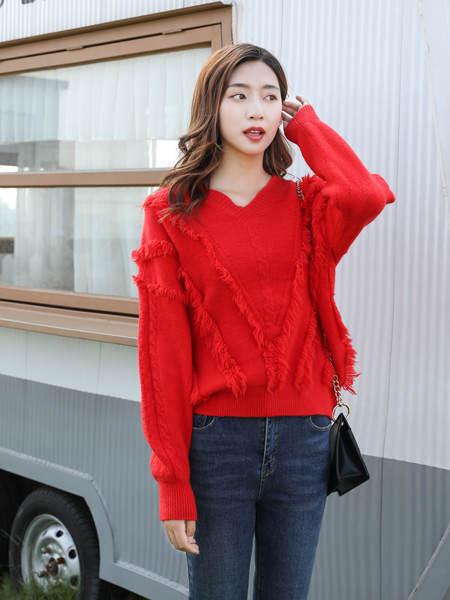 古米娜女装品牌2020秋季红色保暖针织衫