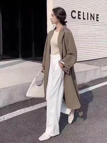 古米娜女装品牌2020秋季纯色长款外套