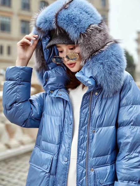 古米娜女装品牌2020秋季蓝色加绒羽绒服