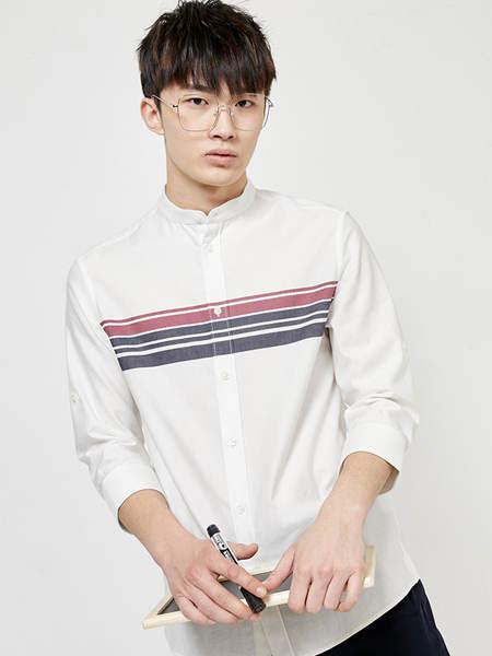 Jack&Jones杰克琼斯男装品牌2020春夏白色条纹衬衫