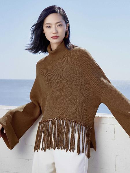 珂思女装品牌2020秋冬个性褐色针织衫