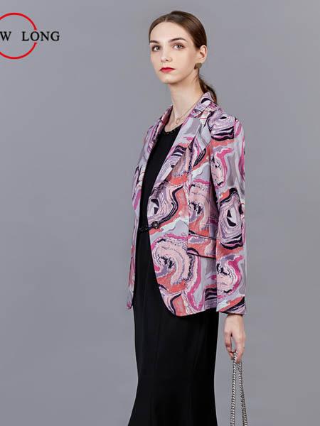 showlong、舒朗、美之藤、高歌女装品牌2020秋冬迷彩粉色西装外套