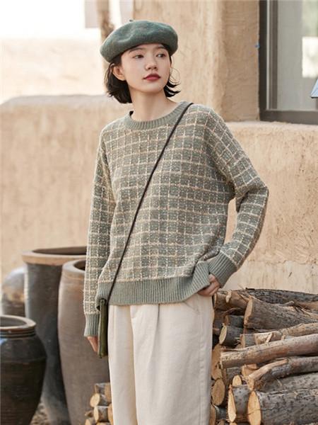 安素尚女装品牌2020秋冬潮流格子纯色针织衫
